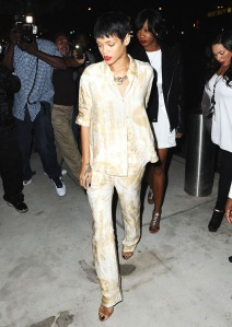 Rihanna makes her way into the new 40/40 club in Brooklyn's Barclays Center in New York City