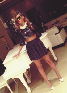 rihanna in ;eather crop shirt