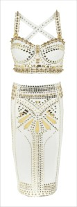 River Island white studded bralet top nd bottom