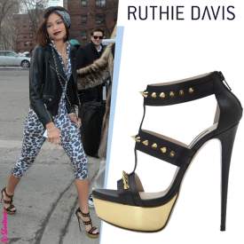 Celebrity-Shoe-Style-Zendaya-in-Ruthie-Davis-Black-Spiked-Bertley-Gladiator-Sandal-at-NYFW
