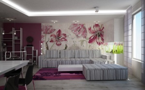 Creative-Wallpaper-Design-With-Modern-Style-For-Inspiration-Home-Decoration-With-Flower-Design-Wallpaper-For-Living-Room-With-Modern-Design-Sofa-Table-Sets-And-Colorful-Decoration-Room