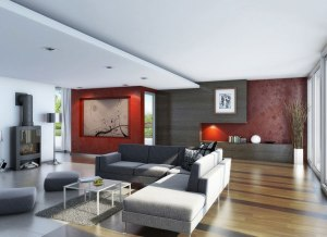 extraordinary-amazing-living-room-wood-flooring-with-red-wallpaper-decor