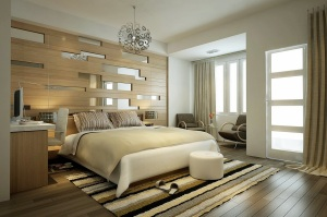 bedroom-contemporary-modern-bedroom-design-inspiration-with-comfortable-low-profile-bed-on-combined-white-color-and-cool-workspace-also-stunning-wood-mirror-wall-decal-modern-bedroom-design