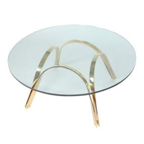 Roger Sprunger-style brass and glass coffee table by tri-mark